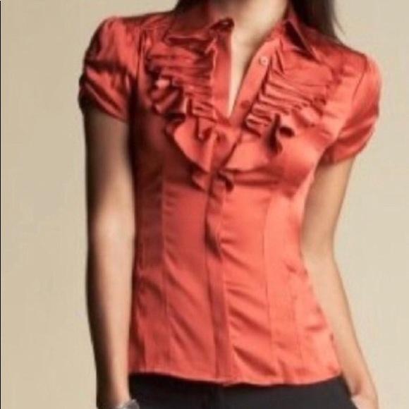 cf01b30e48af1b bebe Tops - Bebe Eva silk ruffle shirt